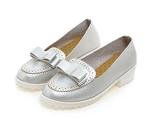 XIE Redonda Dedo del pie Grueso con Zapatos de Tacón de Tacón de Zapatos Ocasionales de Baja Ayuda Zapatos Arco con Zapatos Dulces, White, 39 SILVER-41