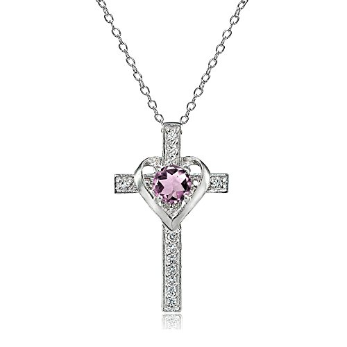 (Sterling Silver Simulated Alexandrite and White Topaz Heart in Cross Necklace for Women Girls)