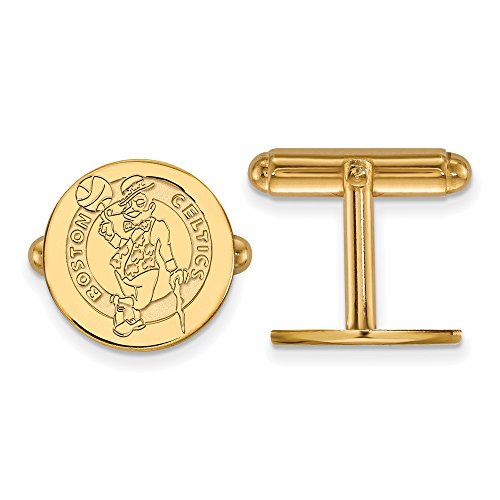 NBA 14k Yellow Gold Plated Sterling Silver Boston Celtics Cuff Links by LogoArt
