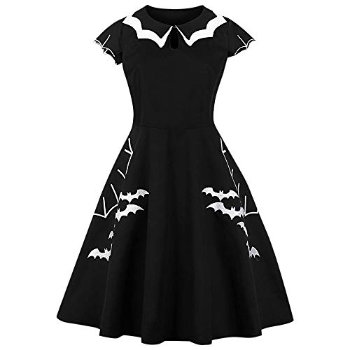 BeautyGal Women's Vintage Halloween Bat Pattern Party Costumes Plus Size Dresses XL ()