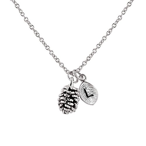 Silver Dainty Pinecone Necklace Initial Necklace Nature Necklace Leaf Necklace Mother's Day Gift for Her (L) - 3PCN