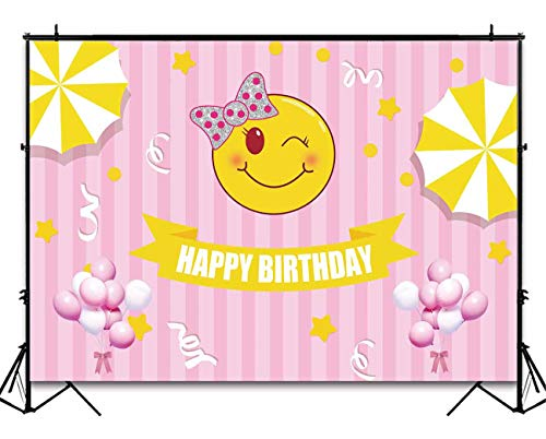 Funnytree 7x5ft Smile Face Happy Birthday Backdrop Cartoon Pink Stripes Baby Girl Photography Background Emoticons Smiley Kids Party Invitation Decorations Cake Table Banner Photobooth