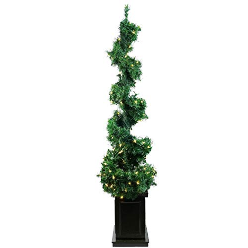 Allstate YT9015-GR 5' Pre-Lit Helix Spiral Potted Artificial Topiary Tree - Clear - Spiral Lit Pre