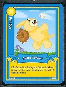 (Ganz WebKinz Trading Card #10 Golden Retriever - Mint Condition - Shipped in Protective Case!)