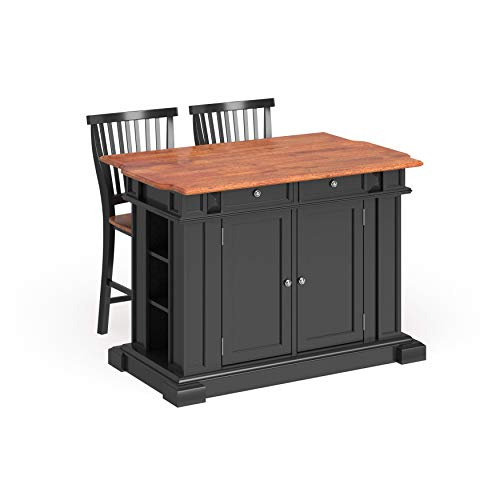 Copper Grove Black Distressed Oak Finish Drop Leaf Kitchen Island and Barstools Kitchen Set (Bar Oak Stool Brass)