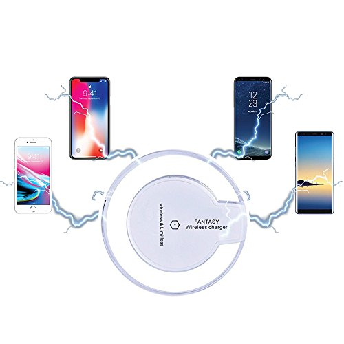 Qi Wireless Charger, Slepwel Fast Charging Pad for iPhone X / 8/8 Plus/Samsung Galaxy Note 8 / S8 / S8 Plus / S7 Edge/Universally Compatible with All Qi Enabled Phones(White)