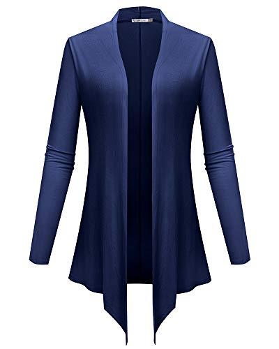 (JollieLovin Women's Petite Open Front Cardigan Drape Long Sleeve Lightweight S-3XL(Navy Blue M))