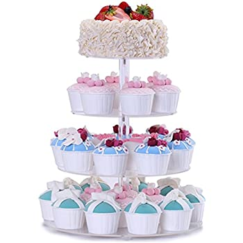 BonNoces 4 Tier Acrylic Glass Round Cupcake Stands Tower   Tiered Cupcake  Carrier   Clear Display Holder Tree   Tiered Pastry Stand Dessert Stands  Wedding ...