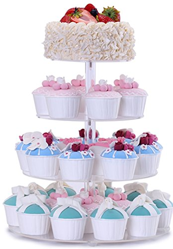 BonNoces 4 Tier Acrylic Glass Round Cupcake Stands Tower - Tiered Cupcake Carrier - Clear Display Holder Tree - Tiered Pastry Stand Dessert Stands Wedding Cake Stands For Wedding Party