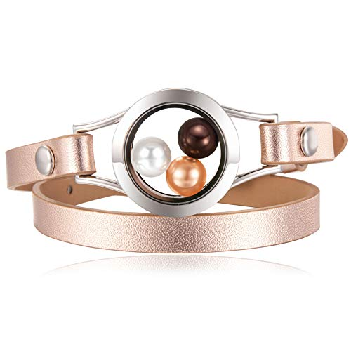 CAPTTE 316L Stainless Steel Pearl Cage Glass Locket Genuine Leather Bracelet for 8mm Pearl with Free Pearls