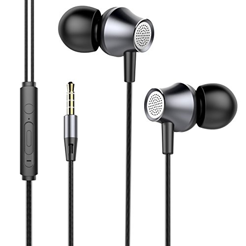 Price comparison product image Headphones 3.5mm Cable Headphone, In-Ear Headphones with Microphone, Earphone for Mobile and MP3 Play Music, Earphone with Cable for iPhone, Samsung, Huawei, Xiaomi, PC (Gray)