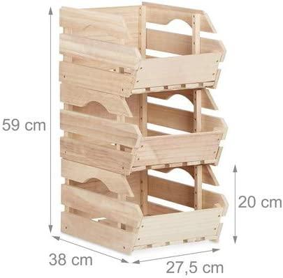 Relaxdays Juego de 3 Cajas de Madera apilables, Almacenamiento Estable, Dimensiones (Alto x Ancho x profunidad): 20 x 27,5 x 38 cm, Color Natural
