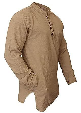 Shopoholic Fashion Mens Plain Washed Out Hippie Shirts (S,Cream)