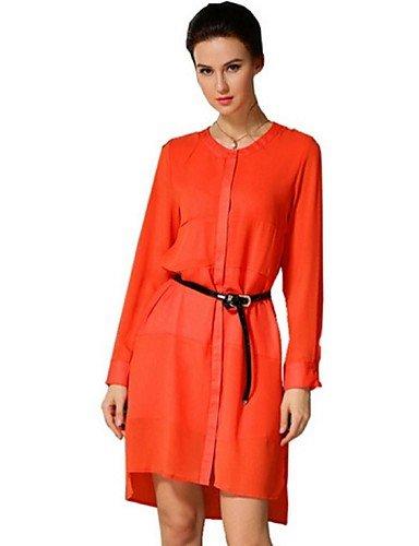 PU&PU Robe Aux femmes Ample Street Chic,Mosaïque Col Arrondi Asymétrique Polyester , orange-l , orange-l