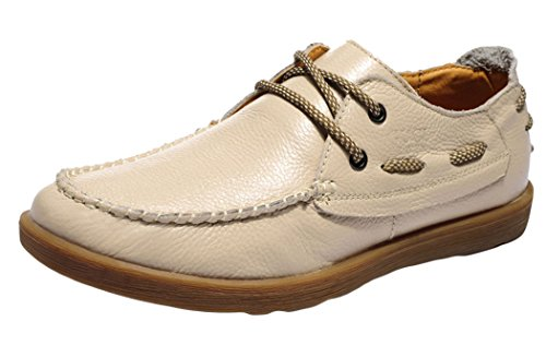 WUXING Christmas Men's Breathable Casual New Fashion Leather Shoes(7 D(M)US,beige)