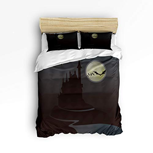 YEHO Art Gallery Queen Size Luxury 3 Piece Duvet Cover Sets for Boys Girls,Horrible Castle with Bats for Halloween Adult Bedding Sets,Include 1 Comforter Cover with 2 Pillow Cases