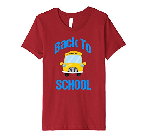 unisex-child Cute Back to School T Shirt | School Bus Cartoon 12 Cranberry