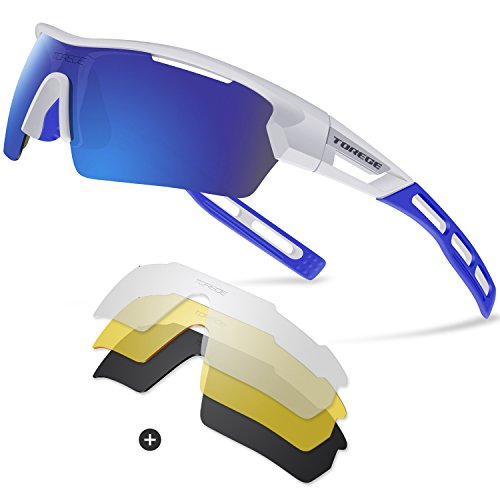 Torege Polarized Sports Sunglasses for Men Women Cycling Running Driving TR033( White&blue tips&Blue - Running Sunglasses