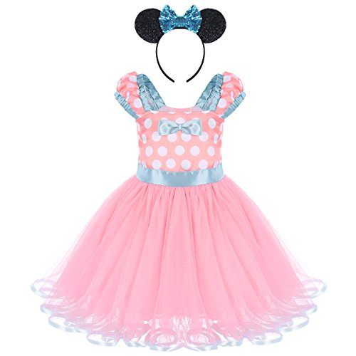 FYMNSI Baby Girls Toddlers Polka Dots Princess Ballet Tutu Dress Birthday Party Pageant Dress up Costume Outfits with Bowknot Mouse Ears Headband Pink 3 Years