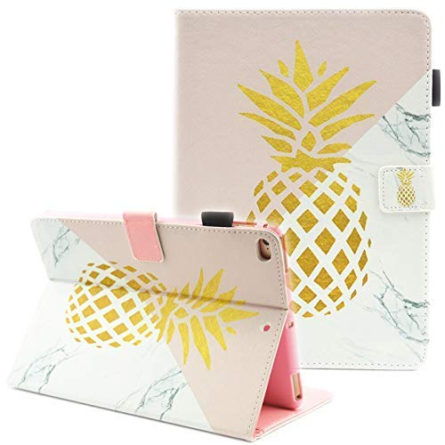 iPad 9.7 2017 / 2018 Case, iPad 6th Generation Case / iPad 5th Generation Case, Fvimi Multi-Angle Viewing Leather Folio Smart Cover with Auto Sleep/Wake for iPad 9.7 Inch Tablet, Gold Pineapple (2 For Ipad Girls Cases)