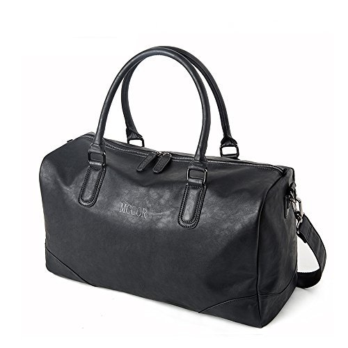 Vintage PU Leather Oversized Weekender Duffel Bag Overnight Handbag Black ()