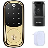Yale Locks Assure Lock Touchscreen with Z-Wave in Polished Brass (YRD226) Smart Front Door Bundle with Xtreme WiFi Smart HD Video Doorbell Camera and Door Chime