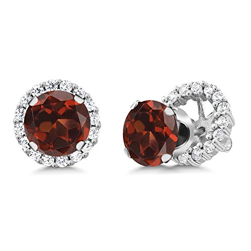 Gem Stone King Red Garnet 925 Sterling Silver Stud Earrings with Jackets Gemstone Birthstone 3.44 Ct Round Cut