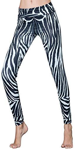 HONG DI HAO Women's Yoga Pants High Waist Workout Printing Leggings Yoga Pants (Zebra Veins, S)]()
