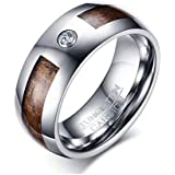 Men's Ring Made of Tungsten Silver and Wooden with Zircon Stone and Size 10