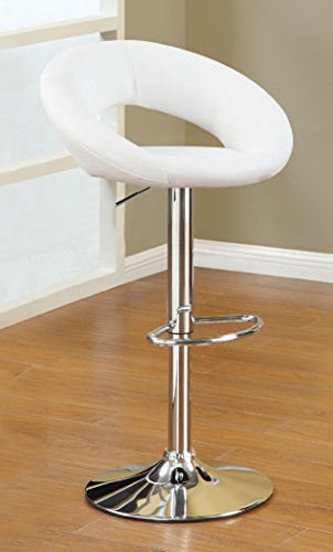 Major-Q PXF901554 Contemporary White Leatherette Chrome Finish Swivel 31 – 38 Adjustable Bar Stool