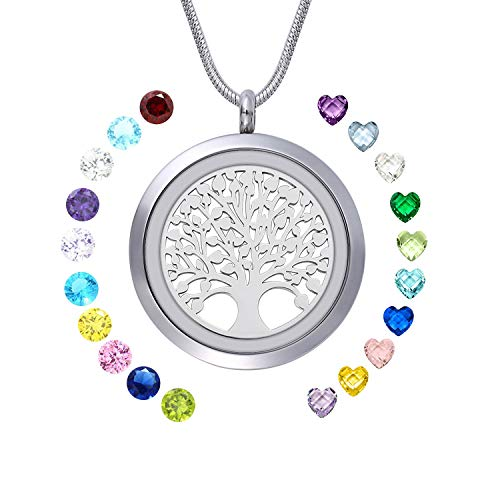 WIGERLON Family Tree of Living Memory Lockets Stainless Steel Necklace Pendant with Birthstones Gifts for Your ()
