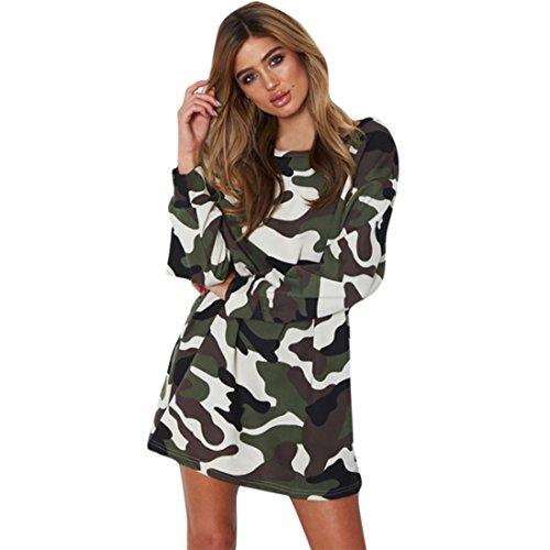 Hot Sale!! Women New Autumn Dress,Lelili Fashion Loose Long Sleeve O Neck Above Knee Camouflage Mini Dress (XL, Army (Camouflage Knee Length Skirt)