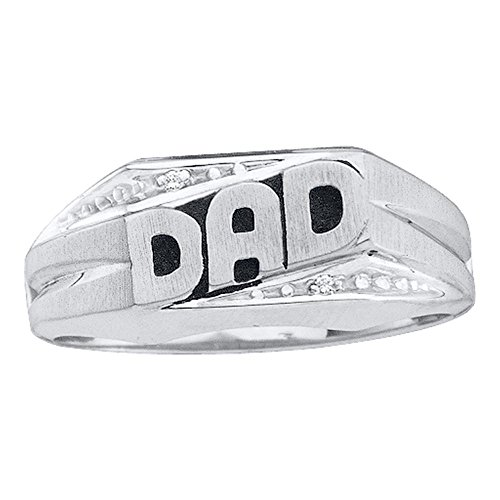 10kt White Gold Mens Round Diamond Dad Father Band Ring .01 Cttw (Round Mens Dad Ring Diamond)