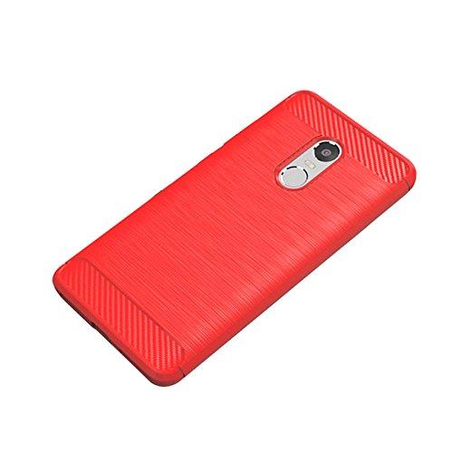 Merssavo Negro Cubierta de la caja del gel de la fibra del carbón cepillada para Xiaomi Redmi Note 4X rojo