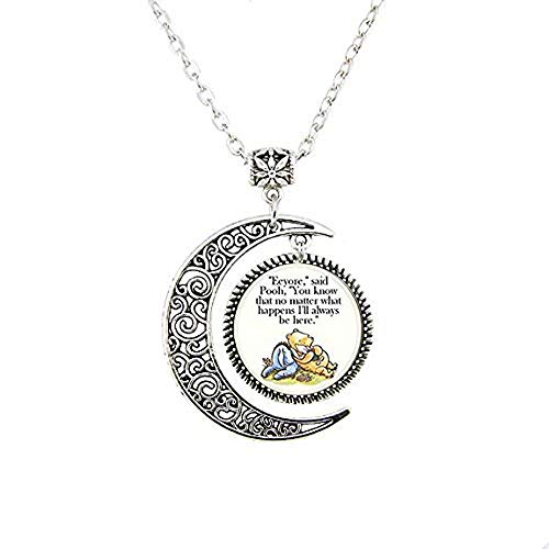hars Support Encouragement Classic Illustration Pooh and Eeyore Pendant - Religious Jewelry Moon Necklace, Bible Quote Pendant - Christian Necklace - Religious Jewelry -