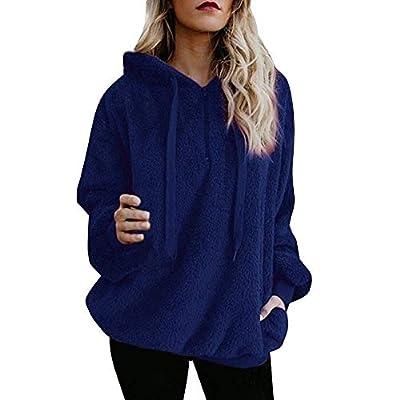 Sunhusing Women's Hooded Zip Pocket Long Sleeve Fleece Jacket Sweater Winter Warm Coat Outwear