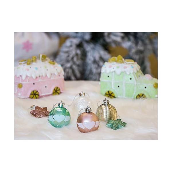 Valery Madelyn Palle di Natale 35 Pezzi 5cm Palline di Natale, Elegante Palazzo Verde Menta e Oro Rosa Infrangibile Ornamenti Palla di Natale Decorazione per Albero di Natale Decor 7 spesavip