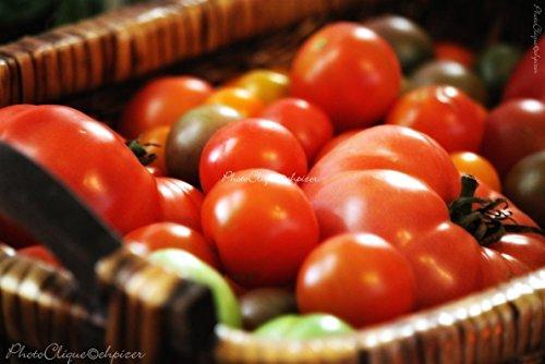 Summer Bounty (1) / Nostalgic Still Life of Rustic Basket of Tomatoes / Fine Art Photography Print