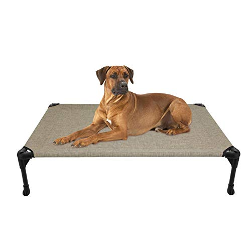 Veehoo Cooling Elevated Dog Bed, Portable Raised Pet Cot with Washable & Breathable Mesh, No-Slip Rubber Feet for Indoor & Outdoor Use, Large, Beige Coffee