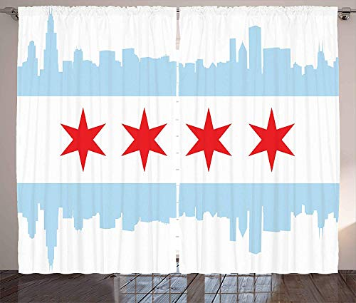 BABE MAPS Chicago Skyline Room Darkening Curtains City of Chicago Flag with High Rise Buildings Scenery National Blackout Room Draperies for Bedroom Living Room 104 W X 90 L Inch Red White Baby Blue