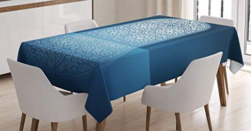 BMALL Cotton Linen Tablecloth Doors of Antique Building Grace Faith Themed Tribal Ethnic Illustration Print Table Cover for Kitchen Dinning Tabletop Decoration 60X104inch by BMALL
