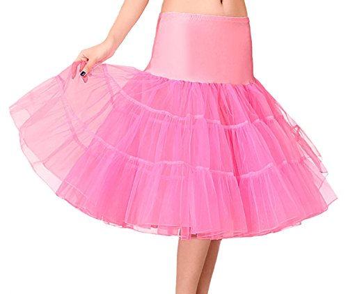 Anmengte Girls Prom Party Underskirt Petticoat Tutu Crinoline Skirts 50s Vintage ((US 12-14)L, Rose Red)