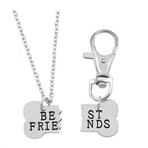 Kingbell Dog Lover Gift Best Friends Pet Dog Bone Keychain Necklace 2pcs/Set