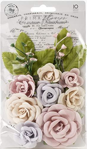 Prima Marketing Floral Embellishments - Prima Marketing 635183 Lavender Frost Mulberry Paper Flowers 10/Pkg-Provincial Garden
