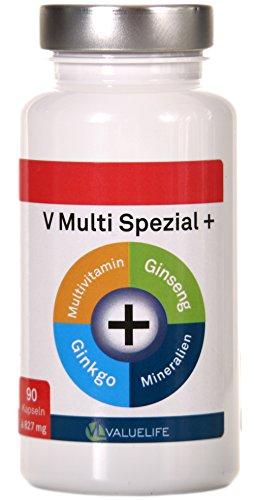 V Multi Spezial: Multivitamin + Multimineral + Ginkgo Biloba + Ginseng! 22 Vitamine & Mineralien in einem Produkt vereint zur optimalen Formel für Körper und Geist! 90 Kapseln à 827mg (1x74g)