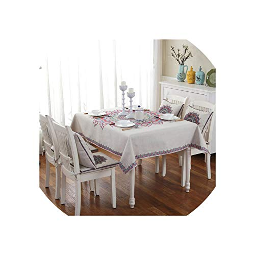 Table Cloths for Dining Table Cotton Linen Classical Kitchen Tablecloth Cover for Table Rectangle/Square Table Cover Home Decor,Style 5,L
