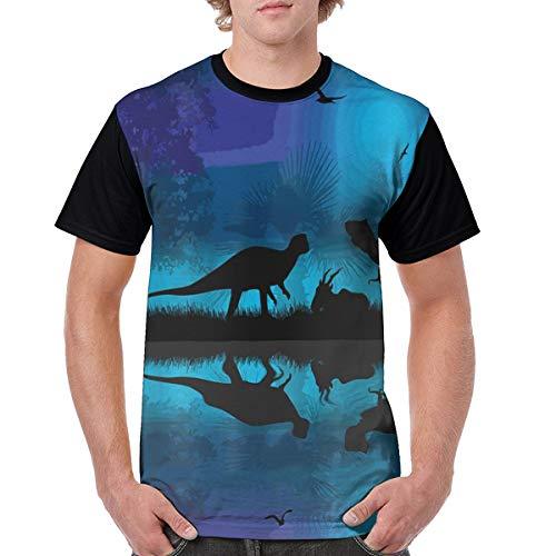 Dinosaurs River Moon Night Dinosaur Mens T-Shirt Short Sleeve Summer Tee Black]()