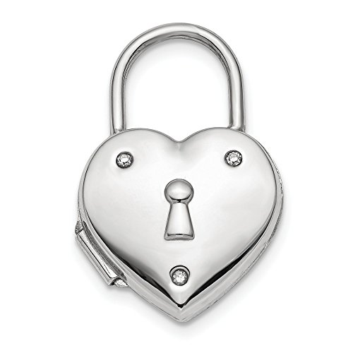 Silver Sterling Diamond Keychain (14mm Sterling Silver and Diamond Rhodium-plated Polished Lock Heart Locket)