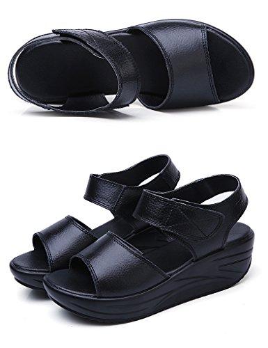 donna Donna Madre Hwf da Nero 35 Pantofole Summer Nero Ms Donna da Colore Fondo spesso donna Sandali Taglia r4rqXSA