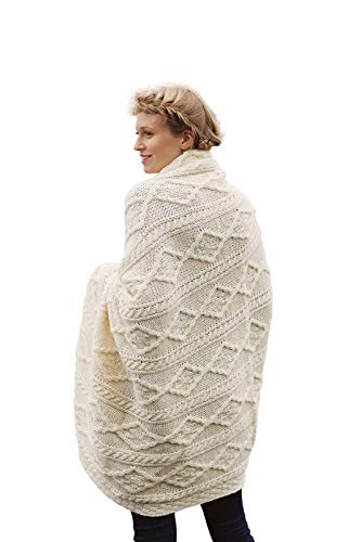 Merino Wool Throw Blanket - 100% Irish Merino Wool Plaited Aran Celtic Cream Couch Throw Blanket 40